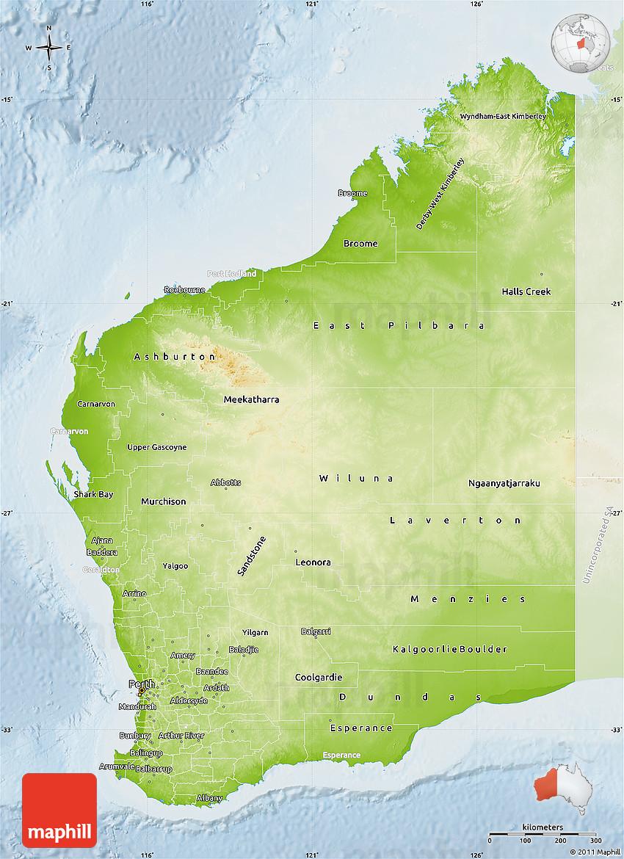Physical Map of Western Australia lighten