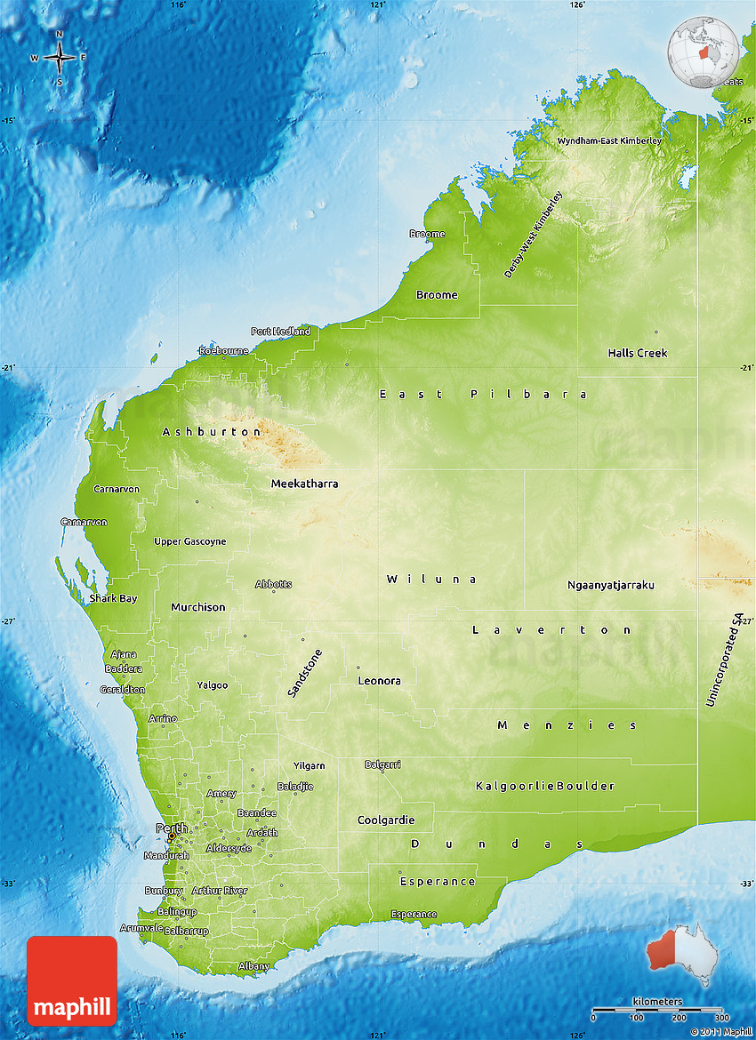Physical Map of Western Australia