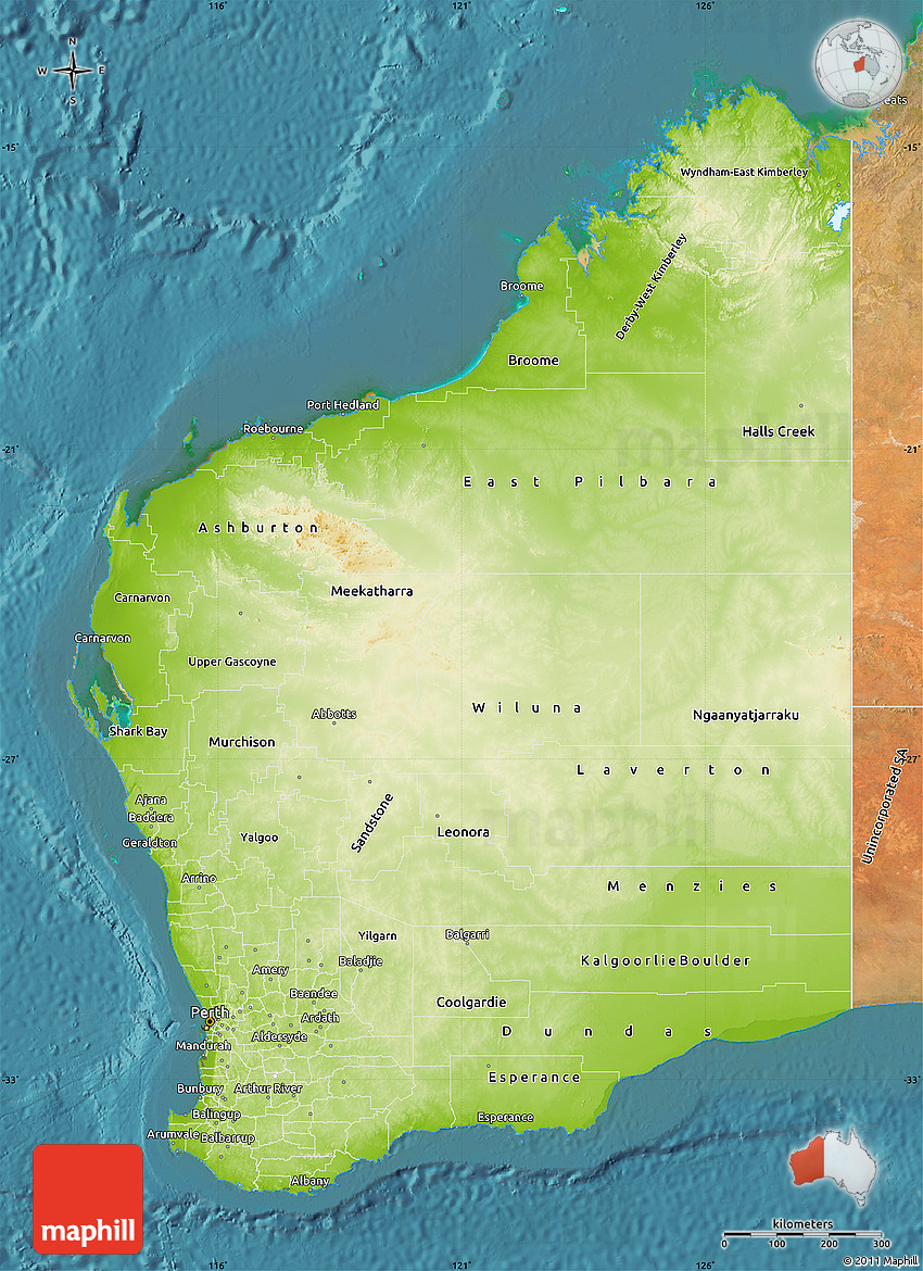 Physical Map Of Western Australia Satellite Outside - Australia physical map