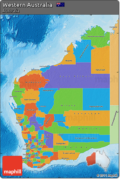 Free Political Map Of Western Australia Political Shades Outside - Australia political map