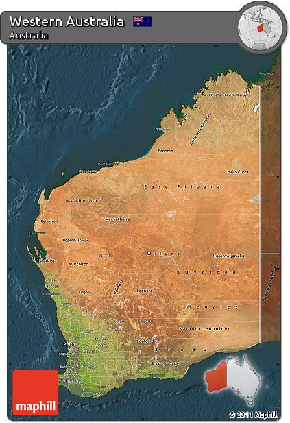 darken satellite map of western australia darken