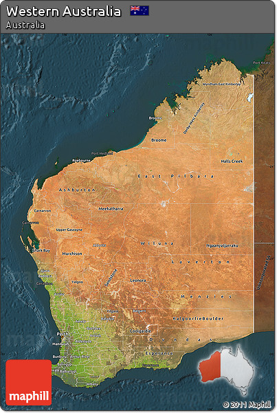 Free Satellite Map of Western Australia darken