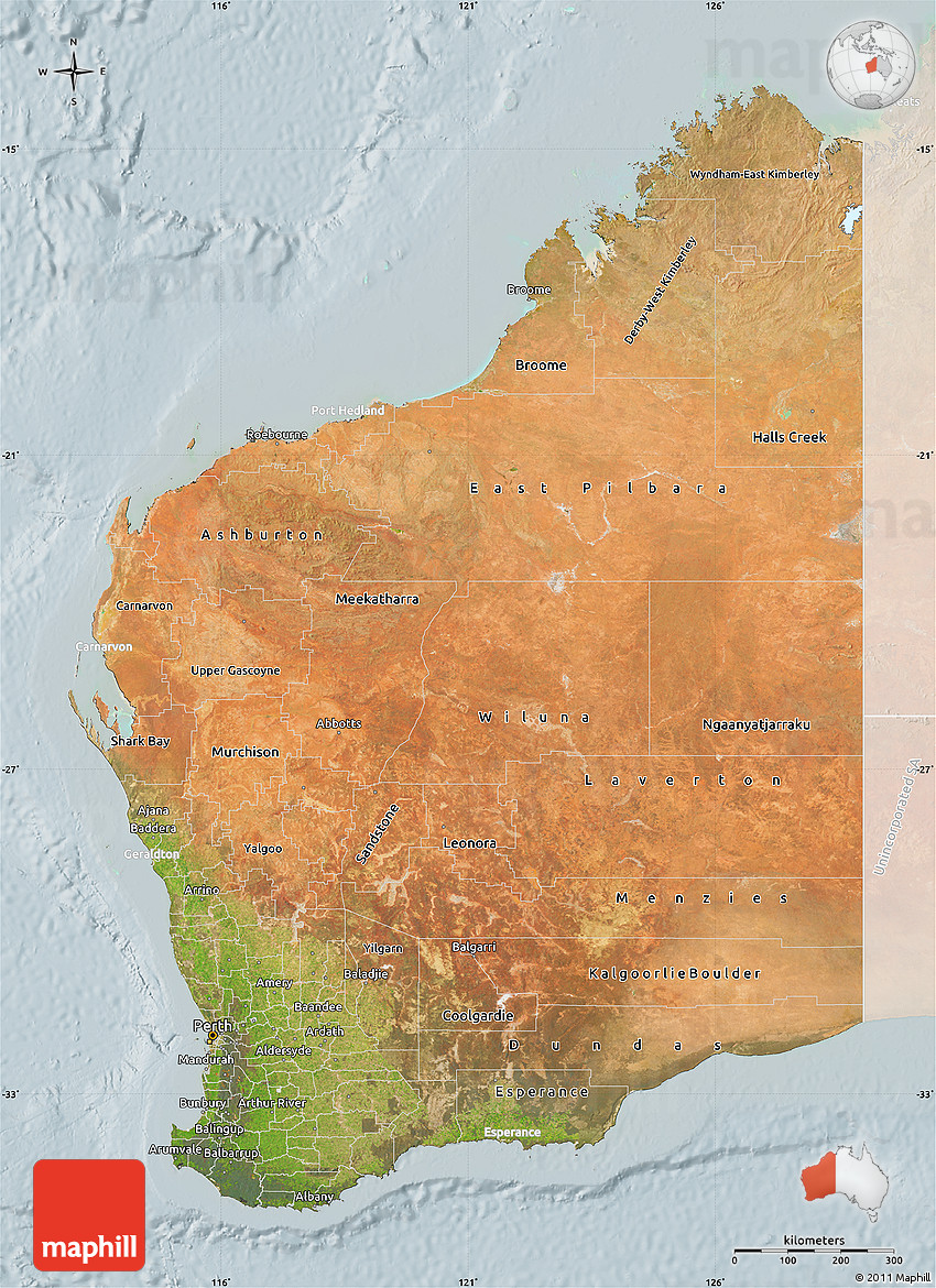 Satellite Map of Western Australia lighten