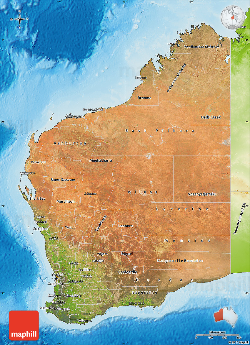 Satellite Map of Western Australia physical outside