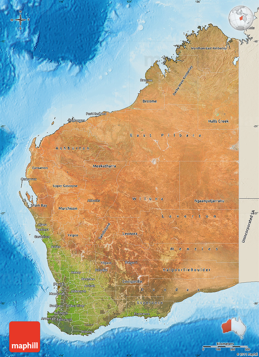 Map Of North West Australia.Satellite Map Of Western Australia Shaded Relief Outside
