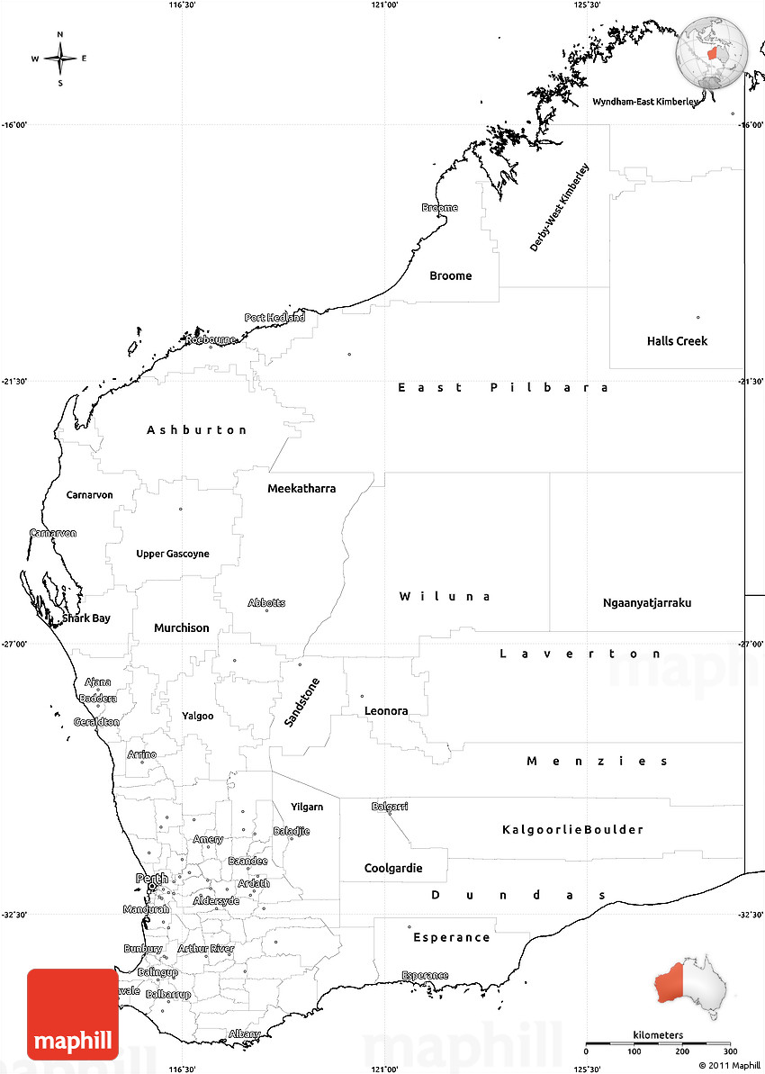 blank simple map of western australia