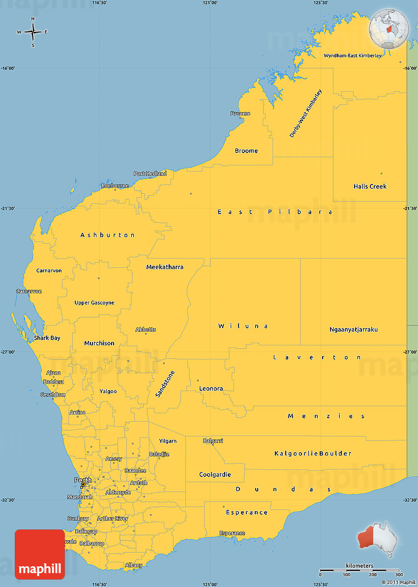 savanna style simple map of western australia