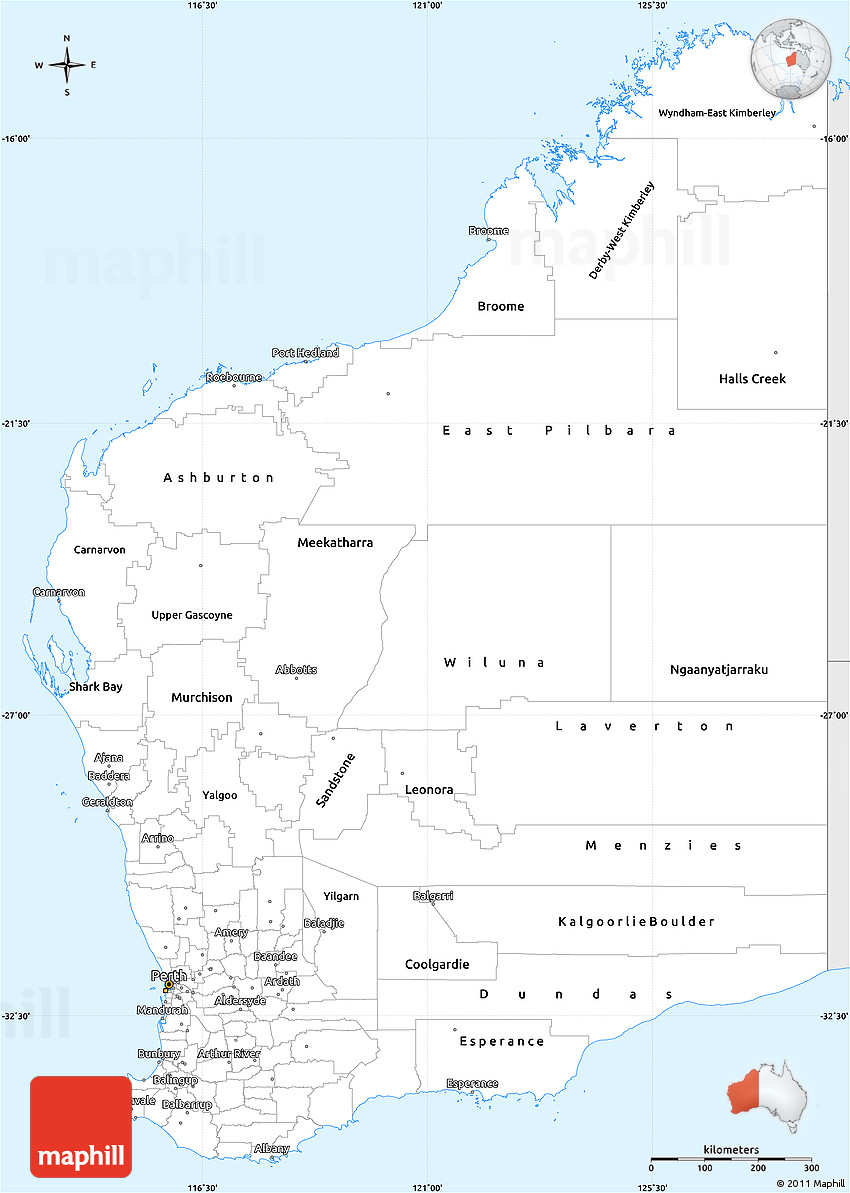 Silver Style Simple Map of Western Australia