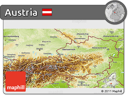 Free Physical D Map Of Austria - Physical map of austria