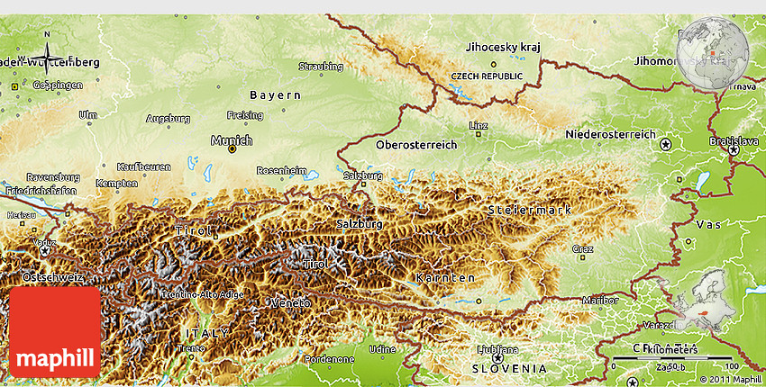 Physical D Map Of Austria - Austria physical map
