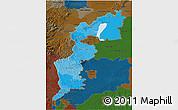 Political Shades 3D Map of Burgenland, darken