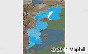 Political Shades 3D Map of Burgenland, darken, semi-desaturated