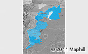 Political Shades 3D Map of Burgenland, desaturated