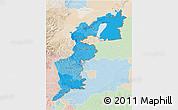 Political Shades 3D Map of Burgenland, lighten