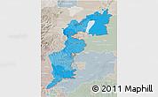 Political Shades 3D Map of Burgenland, lighten, semi-desaturated