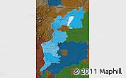 Political Shades Map of Burgenland, darken