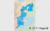 Political Shades Map of Burgenland, lighten