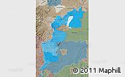 Political Shades Map of Burgenland, semi-desaturated