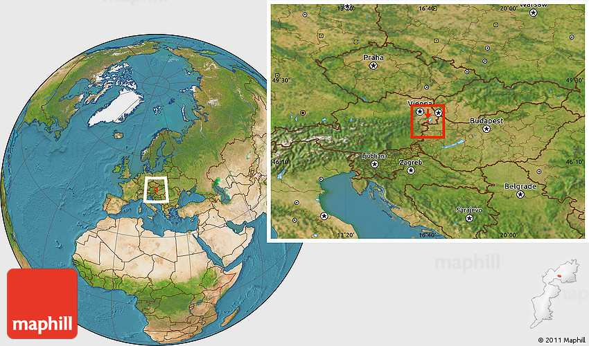 Satellite Location Map of Rust