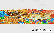 Physical Panoramic Map of Kärnten, political shades outside