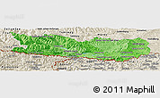 Political Shades Panoramic Map of Kärnten, shaded relief outside