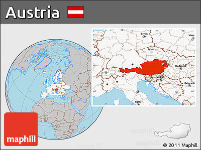 Free Gray Location Map Of Austria Highlighted Continent - Austria location