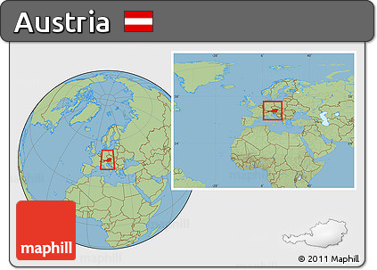 Free Savanna Style Location Map of Austria, within the ...