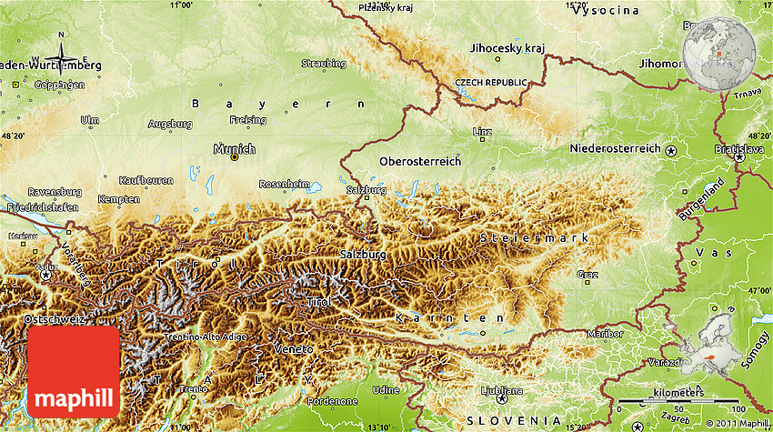 Physical Map Of Austria - Austria physical map