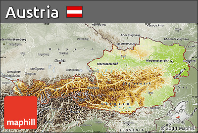 Free Physical Map Of Austria Semidesaturated - Physical map of austria