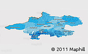 Political Shades Panoramic Map of Oberösterreich, cropped outside