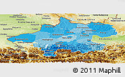 Political Shades Panoramic Map of Oberösterreich, physical outside