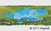 Political Shades Panoramic Map of Oberösterreich, satellite outside