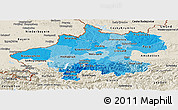Political Shades Panoramic Map of Oberösterreich, shaded relief outside