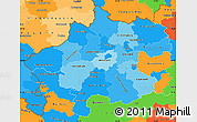 Political Shades Simple Map of Oberösterreich, political outside