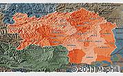 Political Shades 3D Map of Steiermark, darken, semi-desaturated
