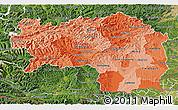 Political Shades 3D Map of Steiermark, satellite outside