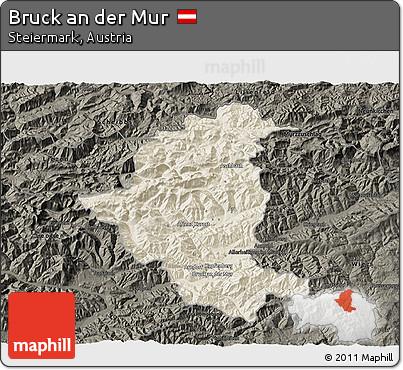 Free Shaded Relief 3D Map of Bruck An Der Mur, darken