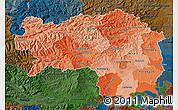 Political Shades Map of Steiermark, darken