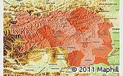 Political Shades Map of Steiermark, physical outside