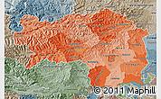 Political Shades Map of Steiermark, semi-desaturated