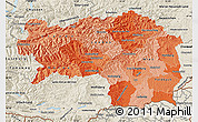 Political Shades Map of Steiermark, shaded relief outside