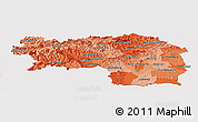 Political Shades Panoramic Map of Steiermark, cropped outside