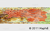 Political Shades Panoramic Map of Steiermark, physical outside