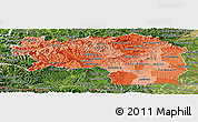Political Shades Panoramic Map of Steiermark, satellite outside