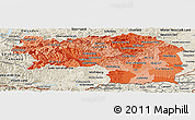 Political Shades Panoramic Map of Steiermark, shaded relief outside