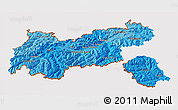 Political Shades 3D Map of Tirol, cropped outside