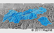Political Shades 3D Map of Tirol, desaturated