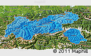Political Shades 3D Map of Tirol, satellite outside