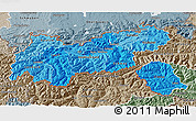 Political Shades 3D Map of Tirol, semi-desaturated