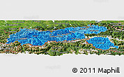 Political Shades Panoramic Map of Tirol, satellite outside
